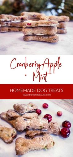Homemade Dog Treats: Cranberry, Apple and Mint Dog Biscuits #dogtreats #dogs #homemadedogtreats #holidays
