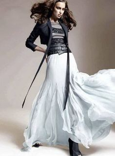 White maxi skirt, black lace top and blazer