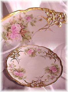 ANTIQUE-RC-IRIS-BAVARIA-13-CHARGER-PLATE-PINK-ROSES-FANCY-GOLD-BAVARIAN-GERMANY  via ebay