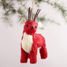 One of my favorite discoveries at WorldMarket.com: Natural Fiber Deer Ornaments, Set of 2