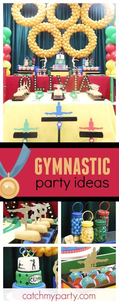 Take a look at this fun gymnastics birthday party. The dessert table is fantastic! Shared Birthday Parties, 50th Birthday Party Decorations, Girl Birthday Themes, Birthday Bash, 21st Party, Birthday Ideas, Gymnastics Birthday, Boys Gymnastics, Olympic Gymnastics