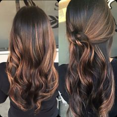 Dark brown and caramel balayage highlights More