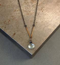 Minimal Aquamarine Necklace, Oxidized Silver Necklace, Aquamarine Jewelry, Geometric Jewelry, Stone Necklace, Delicate, Rustic, Blue Stone