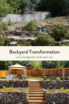 Transforming an unused backyard into a beautiful, functional yard was such a fun project. We reused the rock that was already onsite and added a some more to make these clean retaining walls to create an upper area. The upper yard has a great view to the open hills so I wanted to add a seating area above to capitalize on the amazing view. Check out more backyard transformations by Secret Garden Landscapes. #backyardtransformation #backyard #backyardlandscapinngdesign #smallbackyard Small Backyard Landscaping, Landscaping Design, Backyard Patio, Retaining Walls, Backyard Projects, Summer Garden, Great View, Garden Inspiration, Outdoor Living