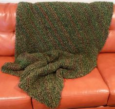 Knitted Blanket Hand Knit Afghan Warm Throw by FromPurlsToPearls