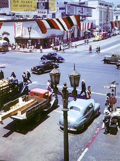 Vintage Cars Hollywood and Vine. California History, Vintage California, California Love, Southern California, Hollywood California, Vintage Pictures, Old Pictures, Old Photos, Fosse Commune