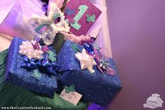 glitter wrapping paper for Winter Butterfly Birthday - via the Creative Orchard