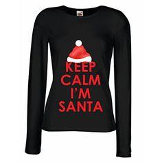 N4256M Mangas largas Camiseta de la hembra Keep Calm I'm Santa (Large Negro Multicolor) #camiseta #friki #moda #regalo