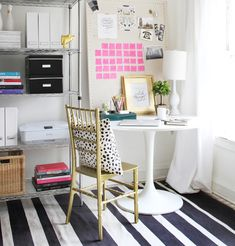 Essentials for a Home Office #theeverygirl I love the inspiration board and the picture frames