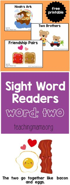 "Sight Word Readers for the Word ""Two"" - Teaching Mama Preschool Sight Words, Teaching Sight Words, Preschool Bible, Sight Word Practice, Sight Word Readers, Sight Words List, Kindergarten Reading Activities, Literacy, Homeschooling"