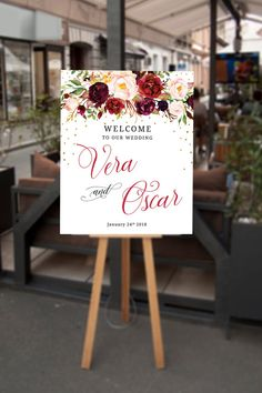 Floral Wedding Welcome Sign, Marsala Wedding, Burgundy Wedding, Fall Floral Welcome Sign, Autumn Wedding, Printable Wedding Sign Large, Wedding Decor Ideas
