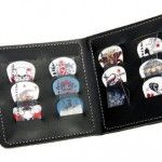 Guitar-Pick-Wallet-12-Celluloid-PicksPlectrums-Random-sets-of-ColoursDesigns-3-each-of-4-thicknesses-0