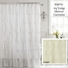 Attractive White 84 Long Gypsy Shabby Chic Ruffled Fabric Shower Curtain | Bathroom |  Pinterest | Ruffle Fabric, Shabby And Ruffle Shower Curtains