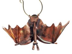 Catherine Murphy of Haw Creek Forge: copper hanging bat garden ornament
