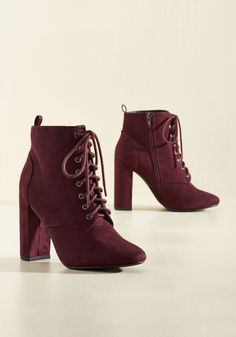 Featured Artist Bootie. Express yourself at the art show's opening night by designing a reception-worthy ensemble featuring these burgundy booties! #purple #modcloth
