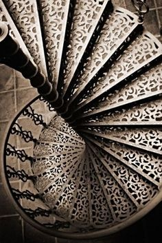 Cutout decorated spiral Stairway