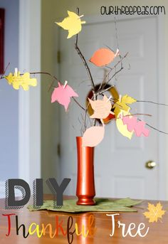 Help teach your kids how to be thankful all November long with this gorgeous DIY Thankful Tree! | Our Three Peas
