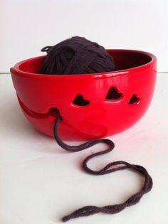 Red LOVE Ceramic Wheel Thrown Yarn Bowl by NewMoonStudio on Etsy  I want a yarn bowl! Awesome!