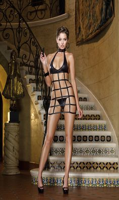 Diamond Chemise, Thong w/Toy Front.