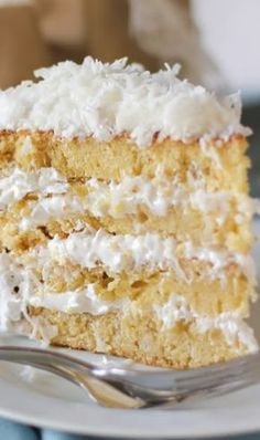 Moist Fluffy Coconut Cake Old Fashioned Coconut Cake — When I was little, my mama made this cake often. She loved it so much. I didn't like it then, but I love it now. Coconut Desserts, Coconut Recipes, Just Desserts, Baking Recipes, Delicious Desserts, Dessert Recipes, Yummy Food, Coconut Cakes, Picnic Recipes