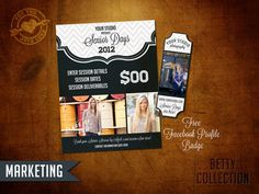 High School Senior Marketing template for Photographers with free Facebook profile badge