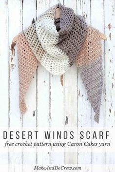 이미지 & 무료도안 https://makeanddocrew.com/desert-winds-scarf-caron-cakes-crochet-pattern/Free...