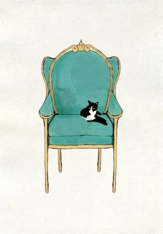 chair with cat by Bruna
