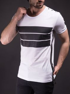 ba0a0df7eb1395 E1 Men 3 Bars Full Side Zipper T-shirt - White