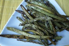 Chinese restaurant take-out style Green Beans roasted in the oven. Easy Easy.