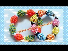 Rainbow loom rubber pompon bracelet tutorial by cheerart2013
