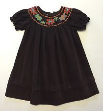 Anavini Infant Girl's Size 12M Month Brown Floral Hand Smocked Dress