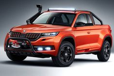 The new Mountiaq concept, a pickup based on the Kodiaq, is the sixth vehicle designed and built by students at Skoda's vocational school. According to Skoda, it took a team of 35 students around 2000 . Best Pickup Truck, Pickup Trucks, Volkswagen, Automotive News, Automotive Design, Audi A4, Fiat Toro, Off Road Tires, Built In Refrigerator