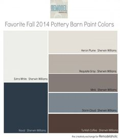 Favorites from the fall 2014 Pottery Barn paint color collection. Remodelaholic.com Pottery Barn Paint Colors, Foyer Paint Colors, Interior Paint Colors, Paint Colors For Home, Wall Colors, House Colors, Colours, Dinning Room Paint Colors, Entryway Paint