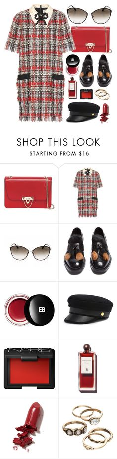 """""""Oiu, Oui"""" by smartbuyglasses-uk ❤ liked on Polyvore featuring Valentino, Gucci, Tom Ford, Prada, Edward Bess, Henri Bendel, NARS Cosmetics, LAQA & Co. and red"""