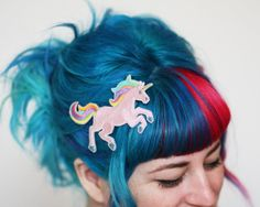 SUMMER SALE - Unicorn Hair Clip, White, Pink or Zombie Your Choice of Barrette, Aligator or Snap Clip - OBSESSED!!! <3 <3 <3