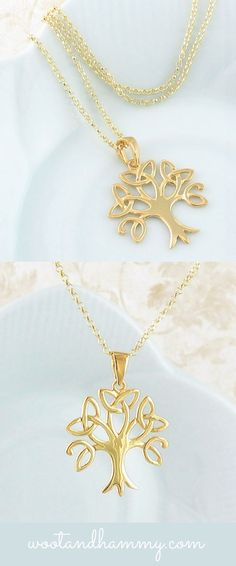 Celtic tree of life necklace in gold plated sterling silver.