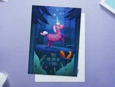 Unique Unicorn Postcard van LeaIllustraties op Etsy