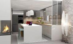 Une cuisine compacte avec un ilot
