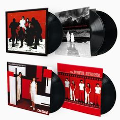 These record covers from The White Stripes display the colour coding that Jack White also of The Raconteurs and The Dead Weather brands each of his projects with. Often including art references and implementing one primary colour across all imagery for each particular band. This creates a highly recognisable image.