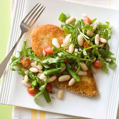 Chicken Milanese with White-Bean Salad