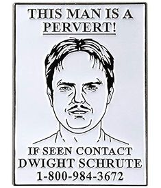 fc066708d4df4 Pinsanity The Office Dwight Pervert Wanted Poster Enamel Lapel Pin