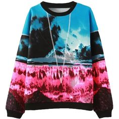 Choies Multicolored Landscape Print Long Sleeve Sweatshirt ($32) ❤ liked on Polyvore featuring tops, hoodies, sweatshirts, multi, colorful sweatshirts, print top, pattern tops, sweatshirts hoodies and sweat shirts