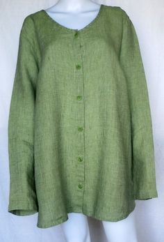 Flax Sunshine Aligned Blouse 1g 1x 2G 2X 8 Colors Linen | eBay