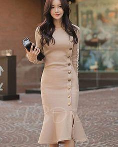 Light apricot fishtail women s sheath dress Hoco Dresses, Dresses For Teens, Simple Dresses, Elegant Dresses, Pretty Dresses, Beautiful Dresses, Dress Outfits, Casual Dresses, Fashion Dresses