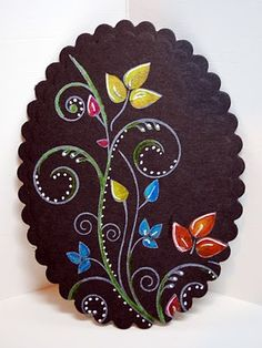 The Black Magic Technique on and oval die cut card...beautiful!!