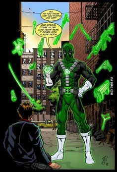 Deadpool with green lantern ring
