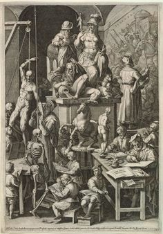 "'The practice of the visual arts', 1578, by Cornelis Cort after Jan van der Straet. A workshop with a statue of Roma in the process of being carved and a painter standing on a platform and working on a fresco of a battle; a cadaver and skeleton are suspended and young boys draw them; an artist models a sculpture of a horse at centre; an engraver with a burin and copperplate and an architect sit at a table; labelled in the design ""PICTURA"", ""STATUARIA"", ""Typorum æneorum / INCISORIA"" etc."