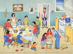 Haciendo los tamales (making tamales)