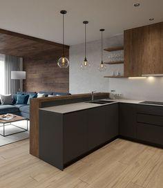 Modern Kitchen Interior Remodeling Modern living room on Behance - Kitchen Room Design, Modern Kitchen Design, Home Decor Kitchen, Interior Design Kitchen, Home Kitchens, Kitchen Ideas, Diy Kitchen, Kitchen Cabinets, Kitchen Designs