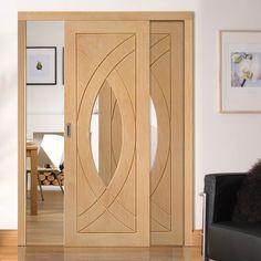 Easi-Slide OP3 Oak Treviso Sliding Door System with Clear Glass in Four Size Widths. #designerglazedoakroomdividers #easislidesslidingdoors #internaloakroomdividers